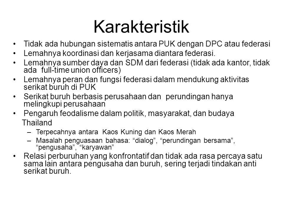 Karakteristik Tidak ada hubungan sistematis antara PUK dengan DPC atau federasi Lemahnya koordinasi dan kerjasama diantara federasi. Lemahnya sumber d
