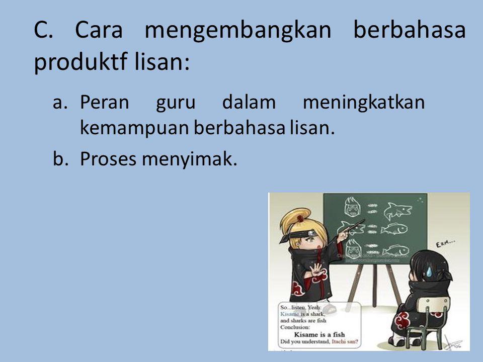 C. Cara mengembangkan berbahasa produktf lisan: a.Peran guru dalam meningkatkan kemampuan berbahasa lisan. b.Proses menyimak.