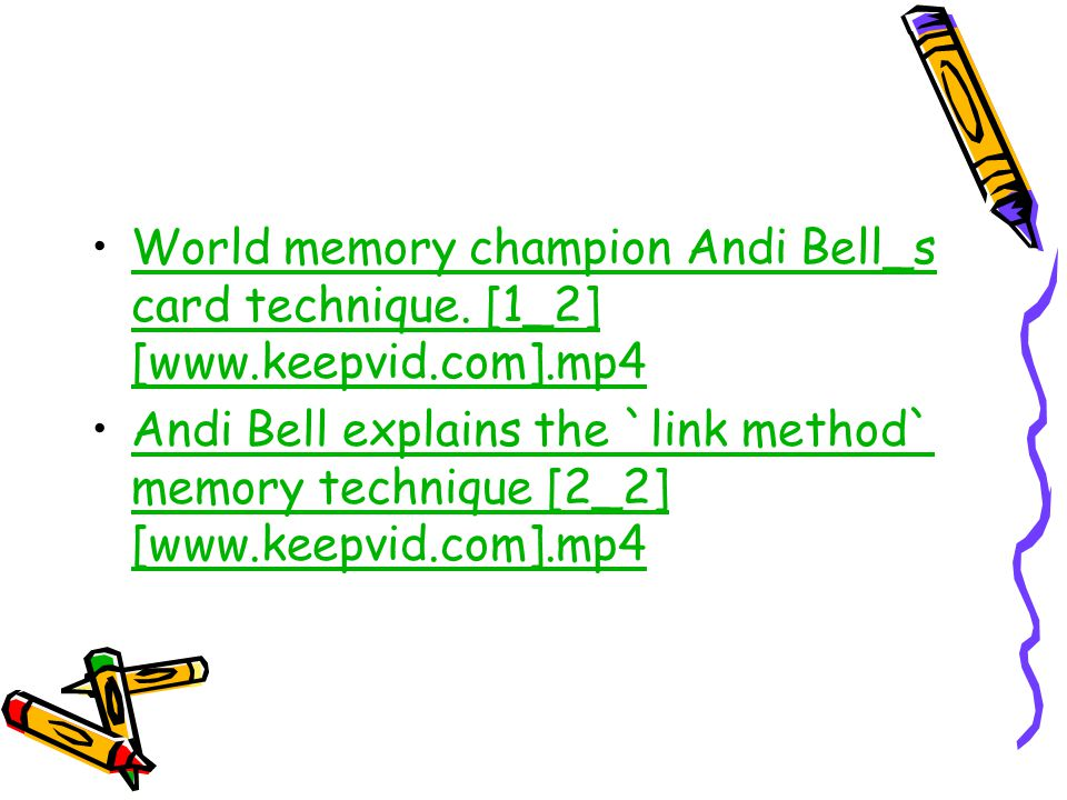 World memory champion Andi Bell_s card technique.