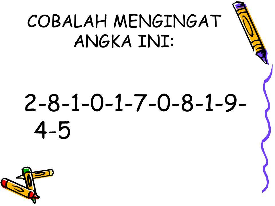 COBALAH MENGINGAT ANGKA INI: 2-8-1-0-1-7-0-8-1-9- 4-5