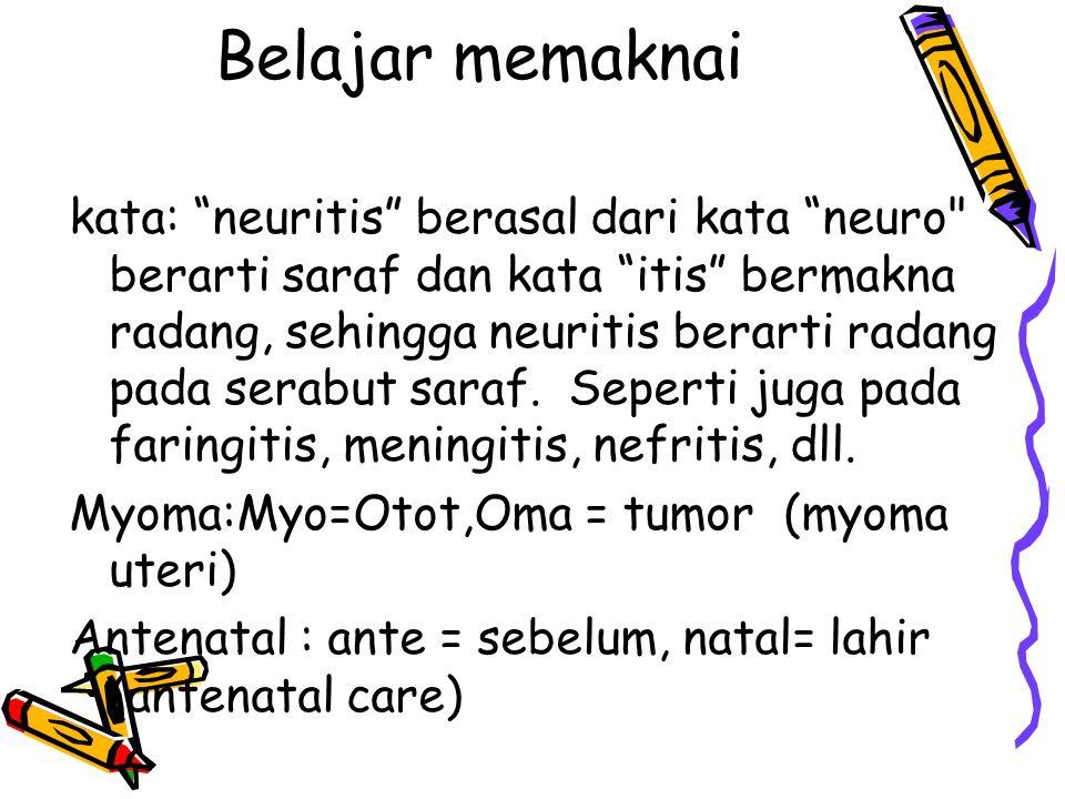 Belajar memaknai kata: neuritis berasal dari kata neuro berarti saraf dan kata itis bermakna radang, sehingga neuritis berarti radang pada serabut saraf.