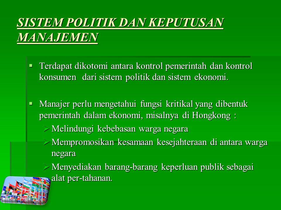 SISTEM POLITIK DAN KEPUTUSAN MANAJEMEN  Terdapat dikotomi antara kontrol pemerintah dan kontrol konsumen dari sistem politik dan sistem ekonomi.
