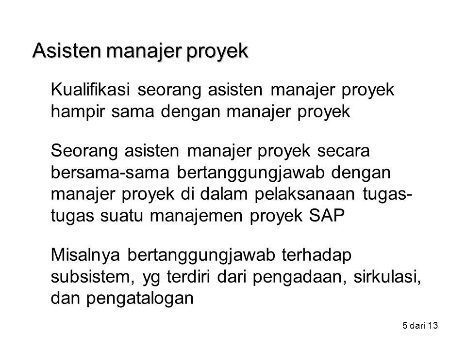 5 dari 13 Kualifikasi seorang asisten manajer proyek hampir sama dengan manajer proyek Seorang asisten manajer proyek secara bersama-sama bertanggungjawab dengan manajer proyek di dalam pelaksanaan tugas- tugas suatu manajemen proyek SAP Misalnya bertanggungjawab terhadap subsistem, yg terdiri dari pengadaan, sirkulasi, dan pengatalogan Asisten manajer proyek