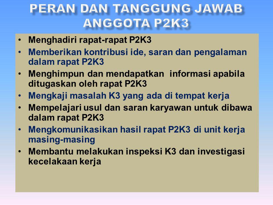 a.Mempersiapkan rapat regular P2K3 b.Menyusun notulen rapat P2K3 c.Menghimpun semua agenda dan hasil keputusan rapat P2K3 d.Menyebarluaskan notulen ra