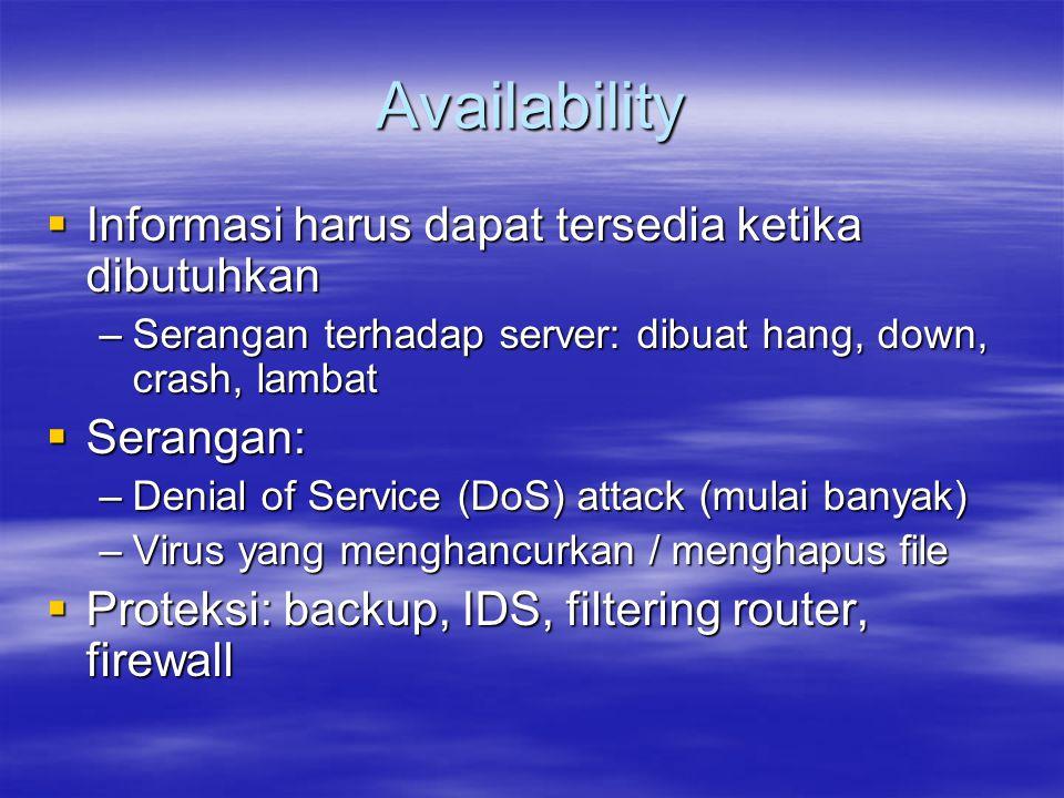 Availability  Informasi harus dapat tersedia ketika dibutuhkan –Serangan terhadap server: dibuat hang, down, crash, lambat  Serangan: –Denial of Ser