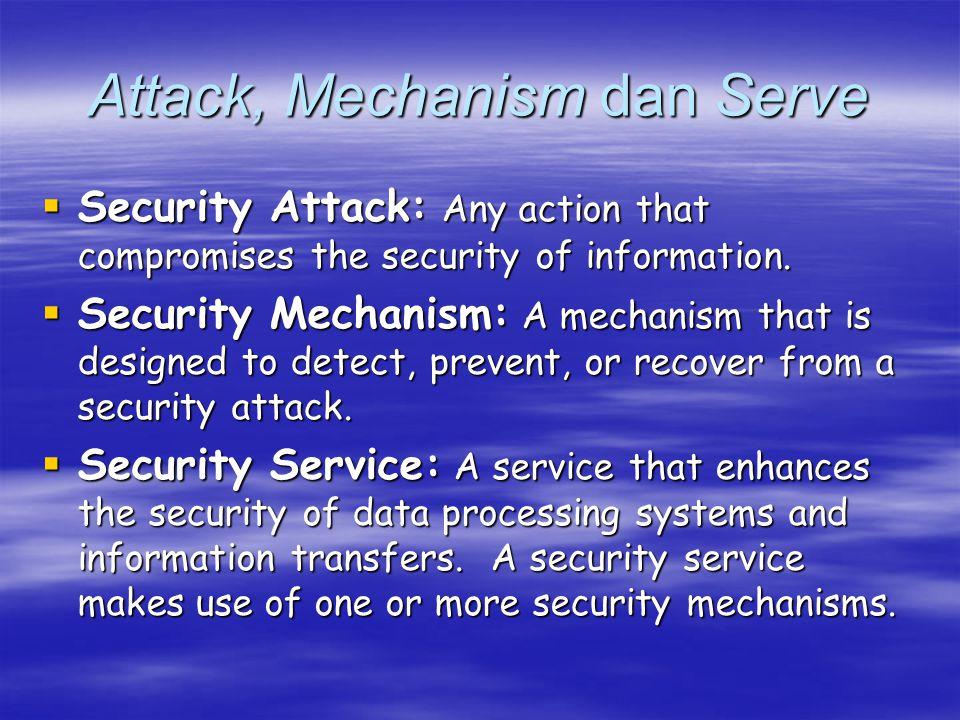 Katergori serangan  Serangan pasif >> sulit dideteksi –Membuka isi file (release of message contents)  Informasi rahasia dan sensitif >> mencegah penyerang mempelajari pentransmisian –Menganalisis lalu lintas (traffic analysis)  Teknik pengiriman dengan enskripsi  Serangan aktif >> memodifikasi data / menciptakan aliran yang menyesatkan –Penyamaran (masquerade)  Suatu entitas berpura-pura sebagai entitas yang berbeda  Menangkap yang asli >> dibalas setelah rangkaian asi yang valid diganti –Jawaban (replay)  Penangkapan secara pasif  Mendapatkan efek yang tidak terotorisasi –Modifikasi pesan (modification of message contents)  Mengubah beberapa bagian yang asli  Untuk menghasilkan efek tidak terotorisasi –Penolakan layanan (denial of service)  Mencegah dari yang normal atau manajemen fasilitas tertentu  Memiliki tujuan tertentu  Bentuk >> gangguan jaringan dengan cara melumpuhkan jaringan atau memenuhi jaringan sehingga mengurangi kinerjanya