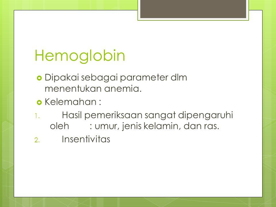 Hemoglobin  Dipakai sebagai parameter dlm menentukan anemia.  Kelemahan : 1. Hasil pemeriksaan sangat dipengaruhi oleh : umur, jenis kelamin, dan ra