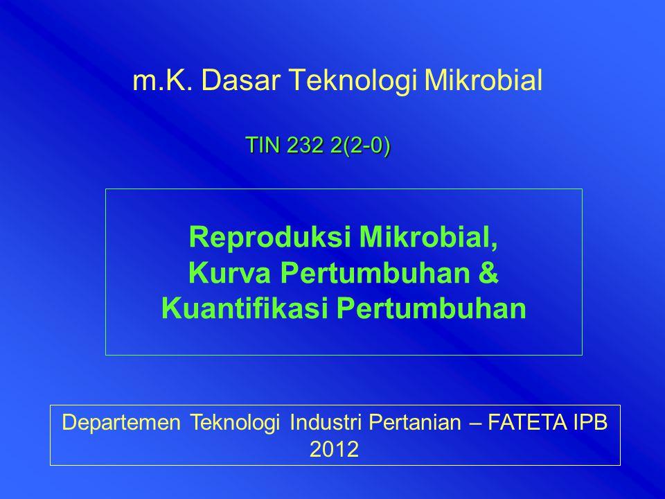 m.K. Dasar Teknologi Mikrobial Departemen Teknologi Industri Pertanian – FATETA IPB 2012 TIN 232 2(2-0) Reproduksi Mikrobial, Kurva Pertumbuhan & Kuan