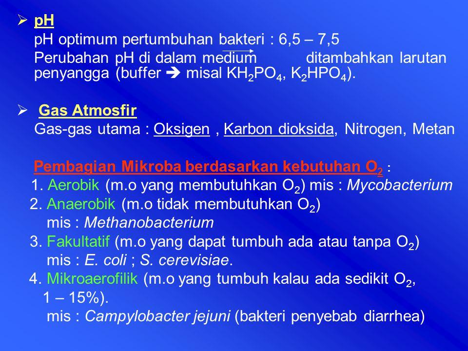 pH pH optimum pertumbuhan bakteri : 6,5 – 7,5 Perubahan pH di dalam medium ditambahkan larutan penyangga (buffer  misal KH 2 PO 4, K 2 HPO 4 ).  G