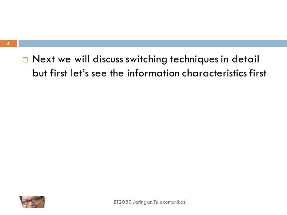  Stasiun perantara akan menerima keseluruhan message lalu memeriksa stasiun berikutnya yang harus dituju (this is routing process), kemudian mem-forward message ke stasiun berikutnya tersebut  Ini merupakan proses store-and-forward  Proses store-and-forward ini diulangi sampai message tiba di tujuan  Tidak ada proses pembentukan dan pemutusan koneksi ET2080 Jaringan Telekomunikasi 15 IEEE Virtual Museum
