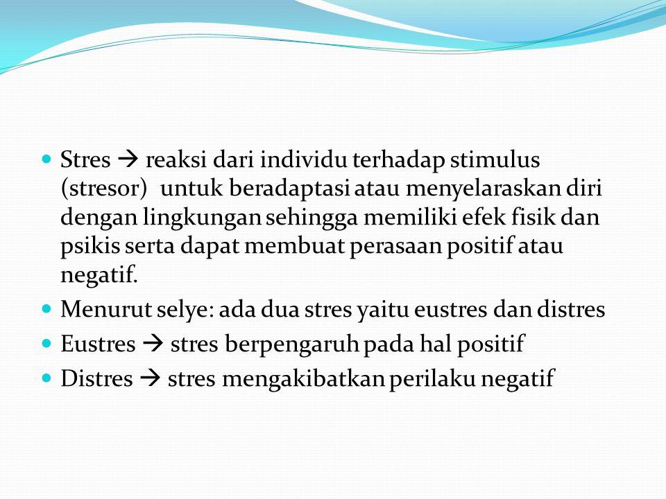 Stres  reaksi dari individu terhadap stimulus (stresor) untuk beradaptasi atau menyelaraskan diri dengan lingkungan sehingga memiliki efek fisik dan