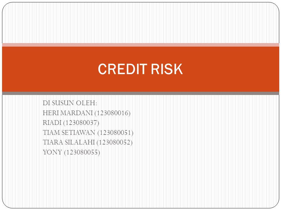 Pengertian Credit Risk Risiko kredit adalah risiko yang terjadi karena kegagalan debitur, yang menyebabkan tak terpenuhinya kewajiban untuk membayar hutang.