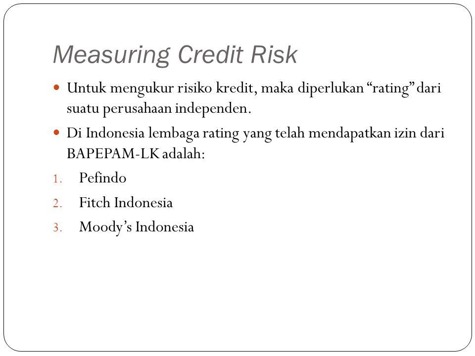 """Measuring Credit Risk Untuk mengukur risiko kredit, maka diperlukan """"rating"""" dari suatu perusahaan independen. Di Indonesia lembaga rating yang telah"""