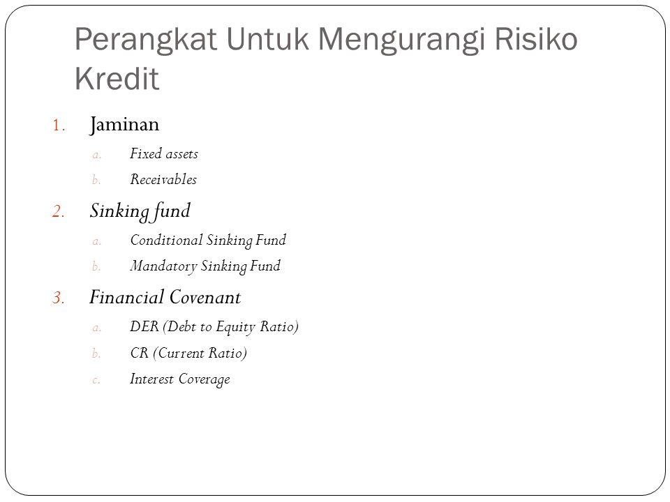 Perangkat Untuk Mengurangi Risiko Kredit 1. Jaminan a. Fixed assets b. Receivables 2. Sinking fund a. Conditional Sinking Fund b. Mandatory Sinking Fu