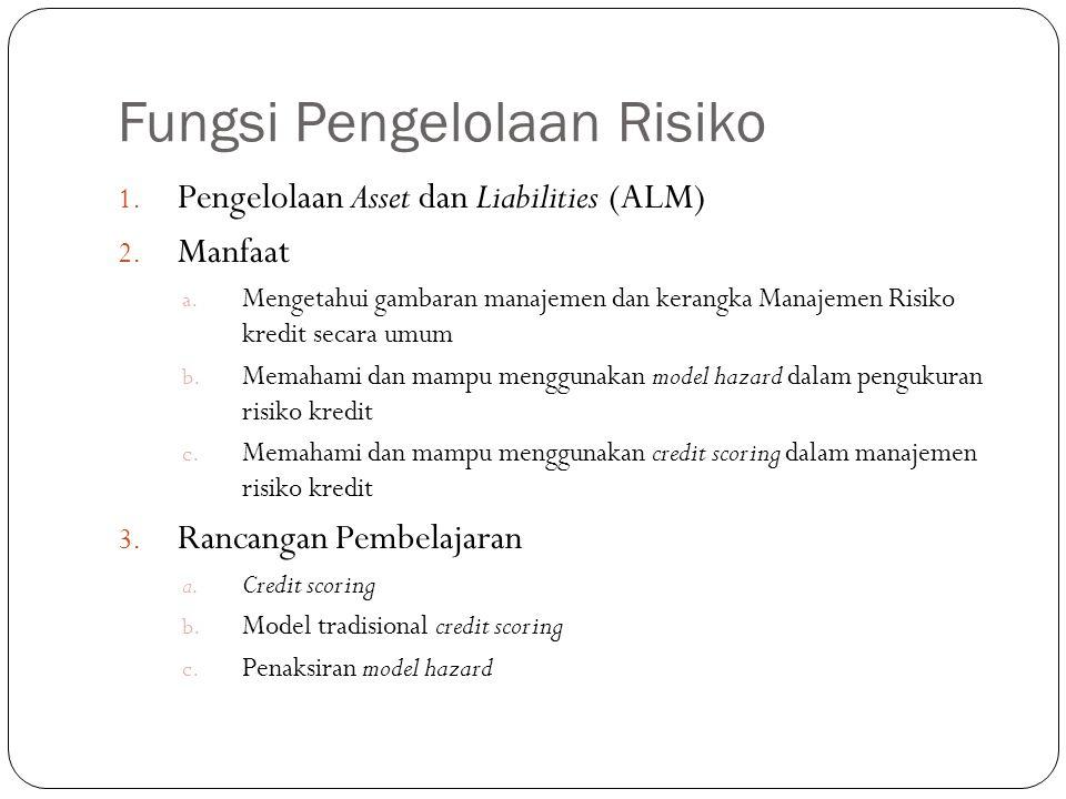 Fungsi Pengelolaan Risiko 1. Pengelolaan Asset dan Liabilities (ALM) 2. Manfaat a. Mengetahui gambaran manajemen dan kerangka Manajemen Risiko kredit