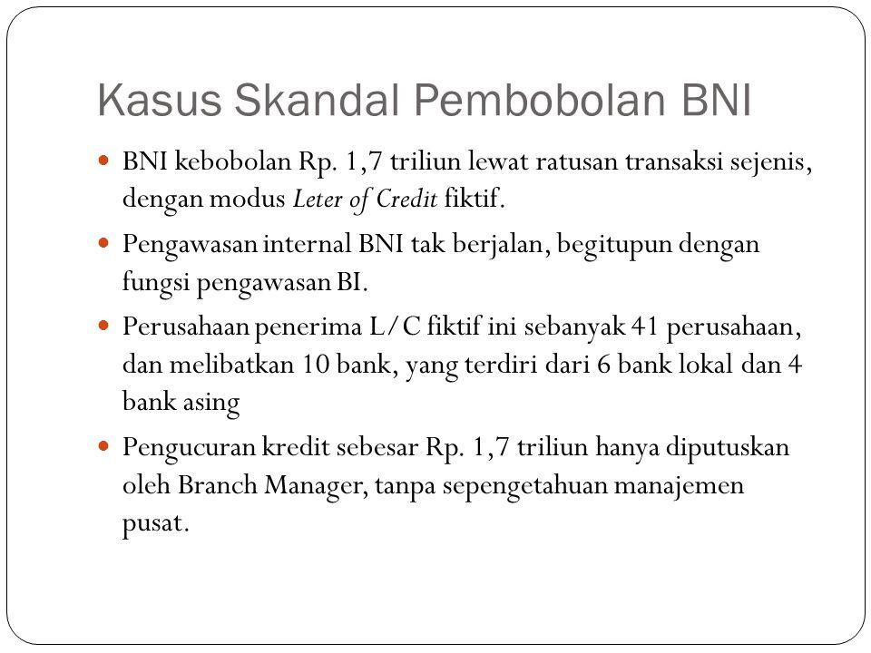 Kasus Skandal Pembobolan BNI BNI kebobolan Rp. 1,7 triliun lewat ratusan transaksi sejenis, dengan modus Leter of Credit fiktif. Pengawasan internal B