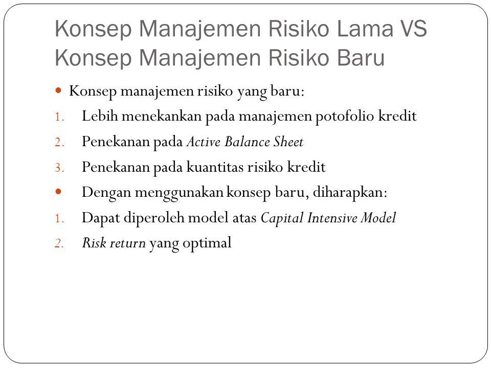 Konsep Manajemen Risiko Lama VS Konsep Manajemen Risiko Baru Konsep manajemen risiko yang baru: 1. Lebih menekankan pada manajemen potofolio kredit 2.