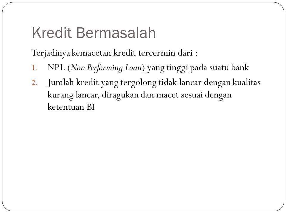Kredit Bermasalah Terjadinya kemacetan kredit tercermin dari : 1. NPL (Non Performing Loan) yang tinggi pada suatu bank 2. Jumlah kredit yang tergolon