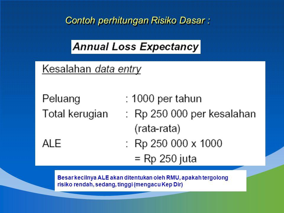 Contoh perhitungan Risiko Dasar : Besar kecilnya ALE akan ditentukan oleh RMU, apakah tergolong risiko rendah, sedang, tinggi (mengacu Kep Dir)