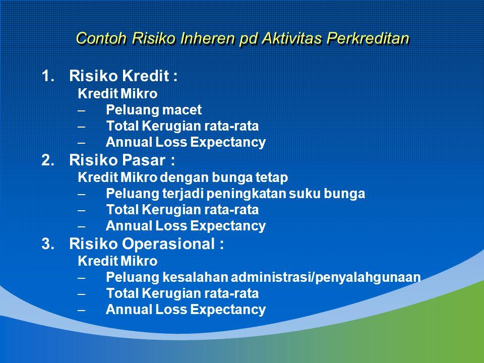 Contoh Risiko Inheren pd Aktivitas Perkreditan 1.Risiko Kredit : Kredit Mikro –Peluang macet –Total Kerugian rata-rata –Annual Loss Expectancy 2.Risik