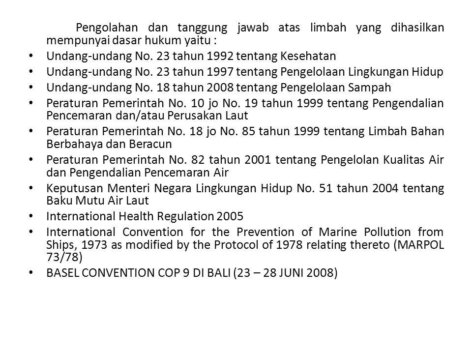 Pengolahan dan tanggung jawab atas limbah yang dihasilkan mempunyai dasar hukum yaitu : Undang-undang No. 23 tahun 1992 tentang Kesehatan Undang-undan