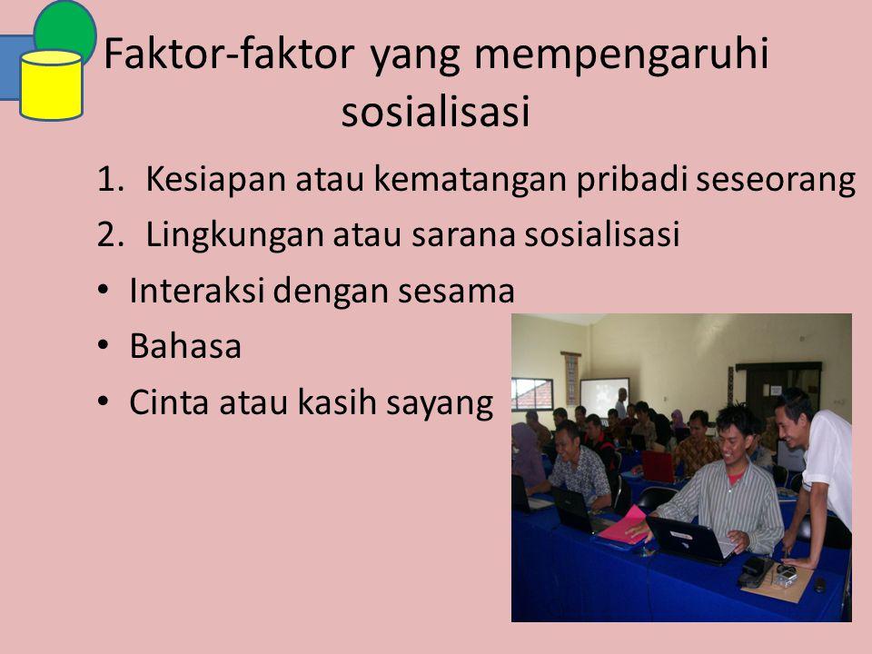 Faktor-faktor yang mempengaruhi sosialisasi 1.Kesiapan atau kematangan pribadi seseorang 2.Lingkungan atau sarana sosialisasi Interaksi dengan sesama
