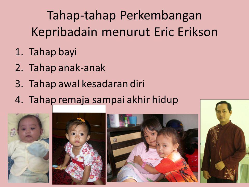 Tahap-tahap Perkembangan Kepribadain menurut Eric Erikson 1.Tahap bayi 2.Tahap anak-anak 3.Tahap awal kesadaran diri 4.Tahap remaja sampai akhir hidup