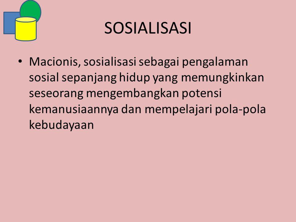 SOSIALISASI Macionis, sosialisasi sebagai pengalaman sosial sepanjang hidup yang memungkinkan seseorang mengembangkan potensi kemanusiaannya dan mempe