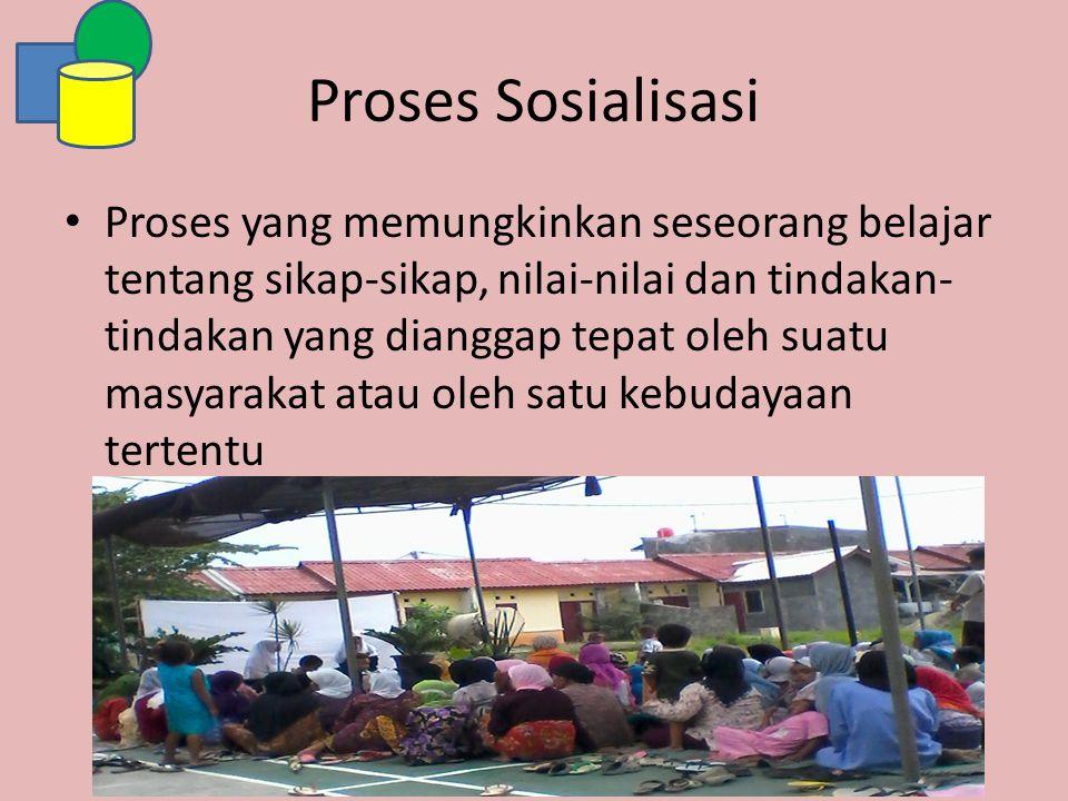 Proses Sosialisasi Proses yang memungkinkan seseorang belajar tentang sikap-sikap, nilai-nilai dan tindakan- tindakan yang dianggap tepat oleh suatu m