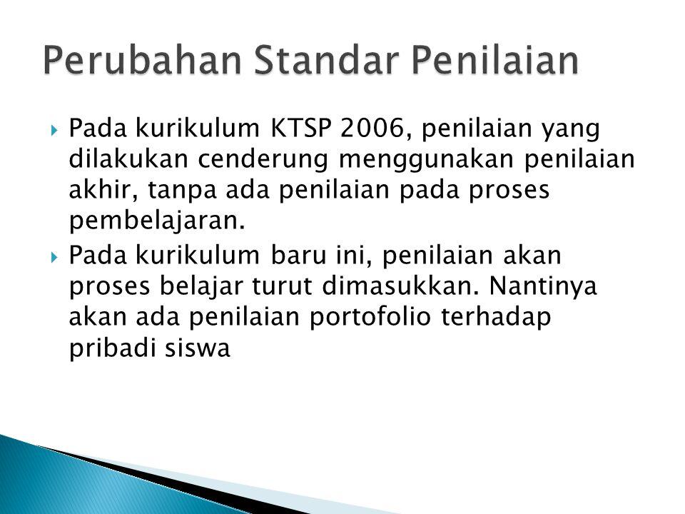  Pada kurikulum KTSP 2006, penilaian yang dilakukan cenderung menggunakan penilaian akhir, tanpa ada penilaian pada proses pembelajaran.  Pada kurik