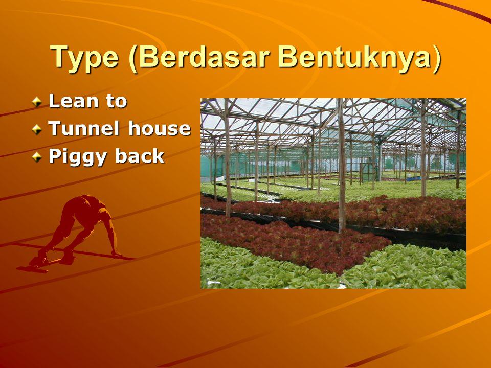 Type (Berdasar Bentuknya) Lean to Tunnel house Piggy back