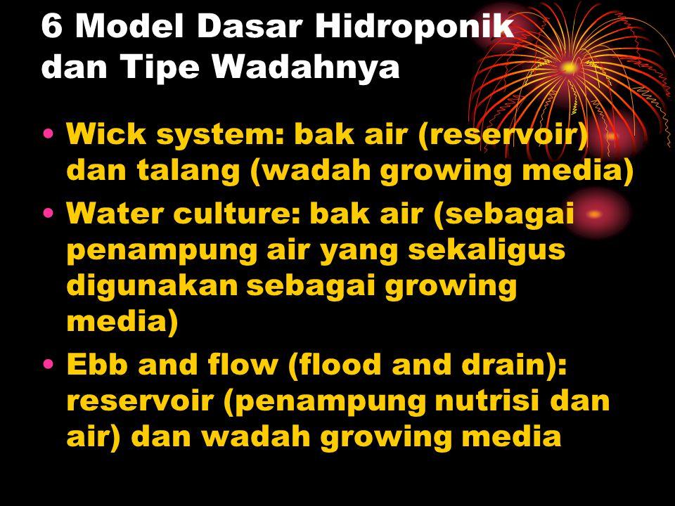6 Model Dasar Hidroponik dan Tipe Wadahnya Wick system: bak air (reservoir) dan talang (wadah growing media) Water culture: bak air (sebagai penampung