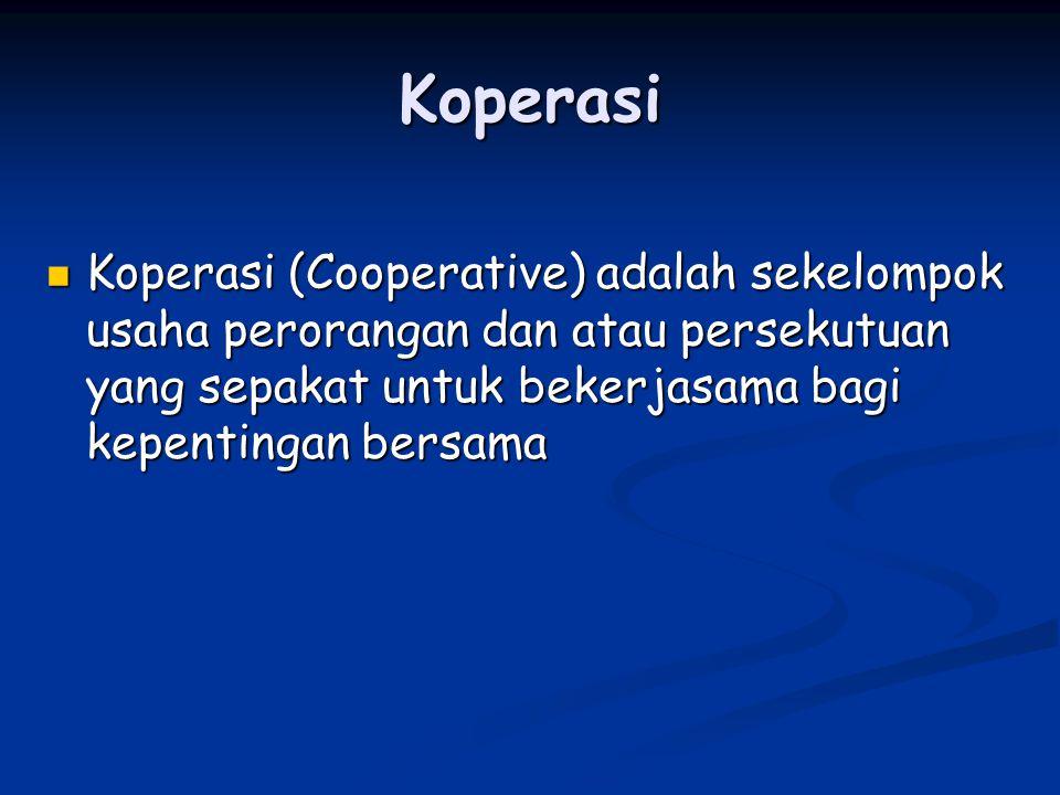Koperasi Koperasi (Cooperative) adalah sekelompok usaha perorangan dan atau persekutuan yang sepakat untuk bekerjasama bagi kepentingan bersama Kopera