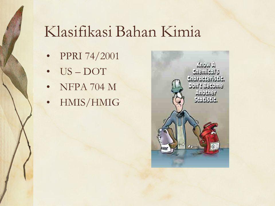 Klasifikasi Bahan Kimia PPRI 74/2001 US – DOT NFPA 704 M HMIS/HMIG