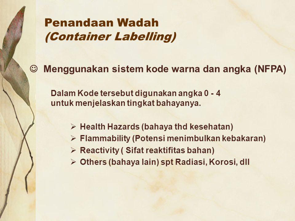 Penandaan Wadah (Container Labelling) Menggunakan sistem kode warna dan angka (NFPA) Dalam Kode tersebut digunakan angka 0 - 4 untuk menjelaskan tingk