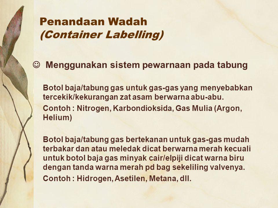 Penandaan Wadah (Container Labelling) Menggunakan sistem pewarnaan pada tabung Botol baja/tabung gas untuk gas-gas yang menyebabkan tercekik/kekuranga