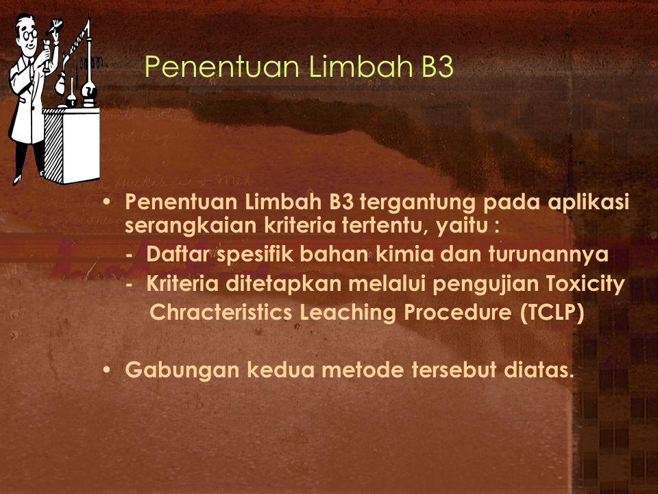 Menentukan Limbah B3 Identifikasi Jenis limbah Cocok dgn Daftar Limbah B3 Limbah B3 Periksa Kharakteristik Lakukan uji Toksikologi LD 50 Bukan Limbah B3Limbah B3 Ya Limbah B3 Ya Tidak
