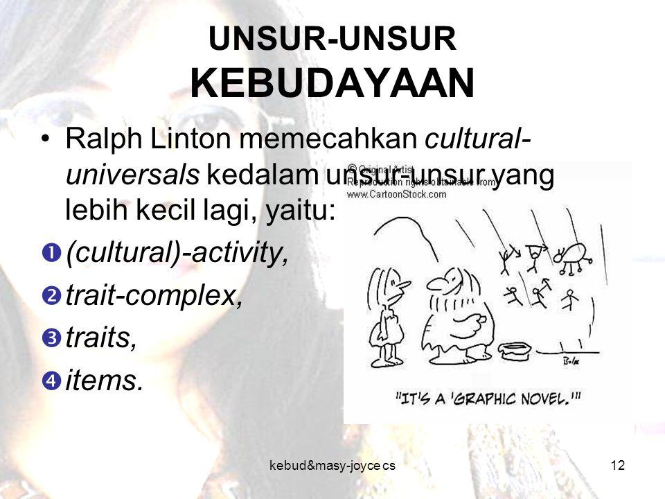 kebud&masy-joyce cs12 UNSUR-UNSUR KEBUDAYAAN Ralph Linton memecahkan cultural- universals kedalam unsur-unsur yang lebih kecil lagi, yaitu:  (cultura