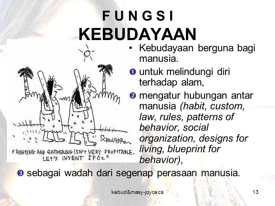 kebud&masy-joyce cs13 F U N G S I KEBUDAYAAN  sebagai wadah dari segenap perasaan manusia. Kebudayaan berguna bagi manusia.  untuk melindungi diri t