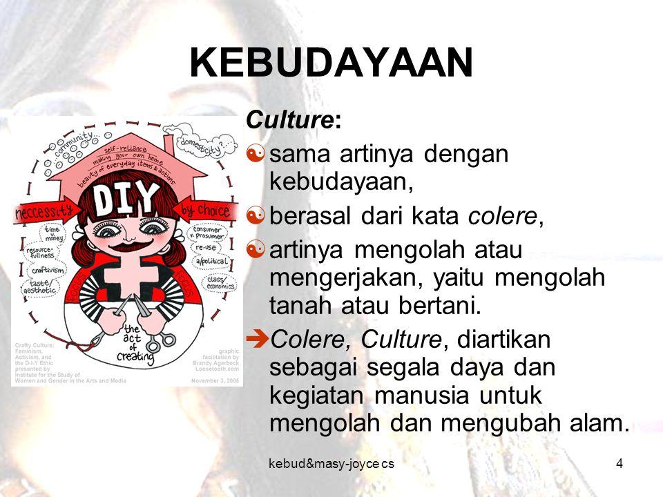 kebud&masy-joyce cs4 KEBUDAYAAN Culture:  sama artinya dengan kebudayaan,  berasal dari kata colere,  artinya mengolah atau mengerjakan, yaitu meng