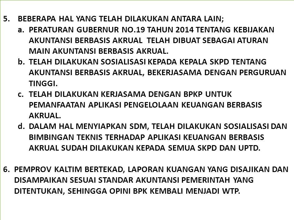5.BEBERAPA HAL YANG TELAH DILAKUKAN ANTARA LAIN; a.PERATURAN GUBERNUR NO.19 TAHUN 2014 TENTANG KEBIJAKAN AKUNTANSI BERBASIS AKRUAL TELAH DIBUAT SEBAGA
