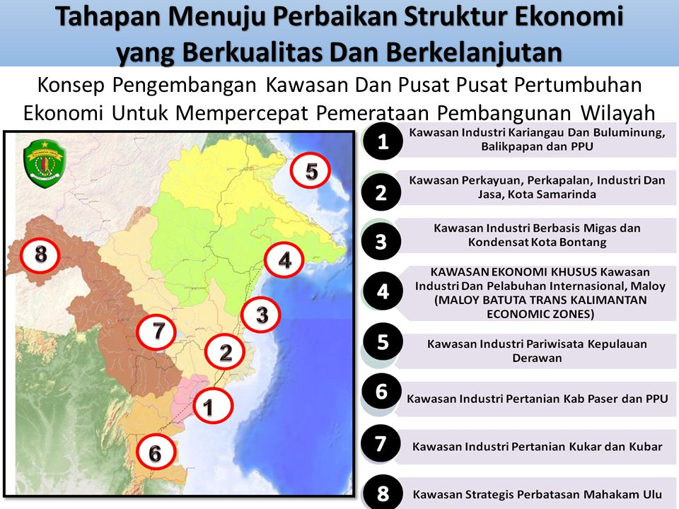 Tahapan Menuju Perbaikan Struktur Ekonomi yang Berkualitas Dan Berkelanjutan Konsep Pengembangan Kawasan Dan Pusat Pusat Pertumbuhan Ekonomi Untuk Mem