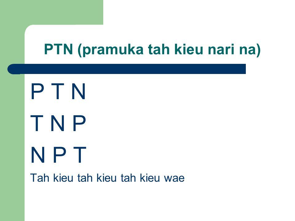 PTN (pramuka tah kieu nari na) P T N T N P N P T Tah kieu tah kieu tah kieu wae