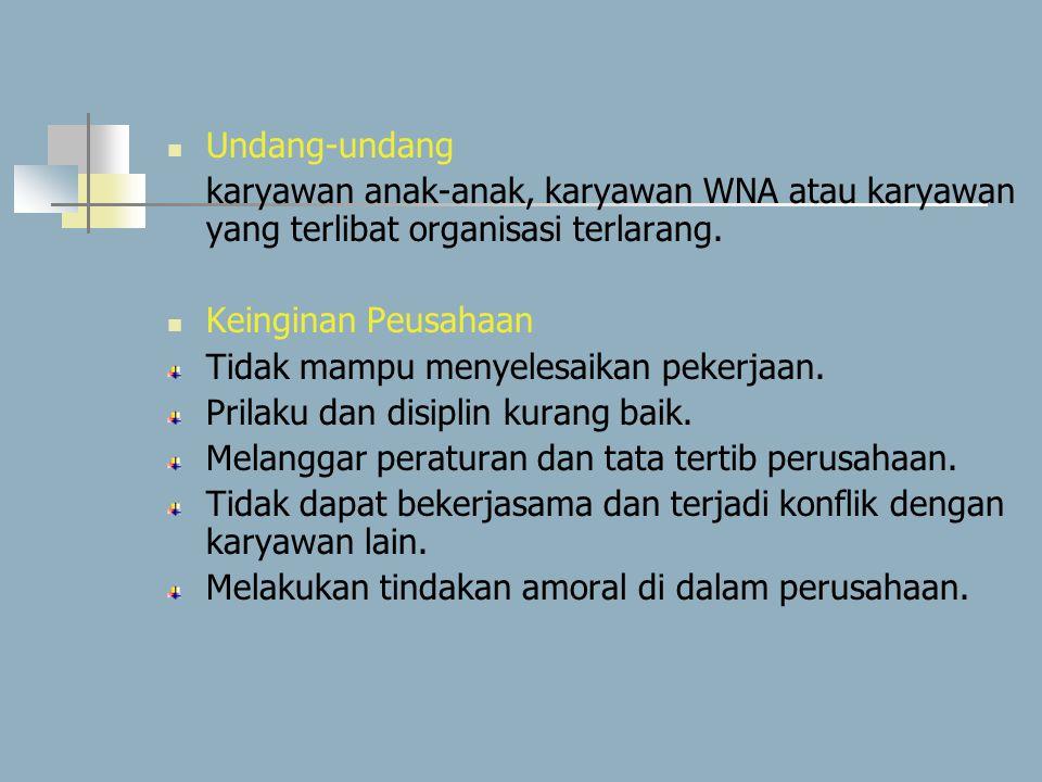 Undang-undang karyawan anak-anak, karyawan WNA atau karyawan yang terlibat organisasi terlarang. Keinginan Peusahaan Tidak mampu menyelesaikan pekerja