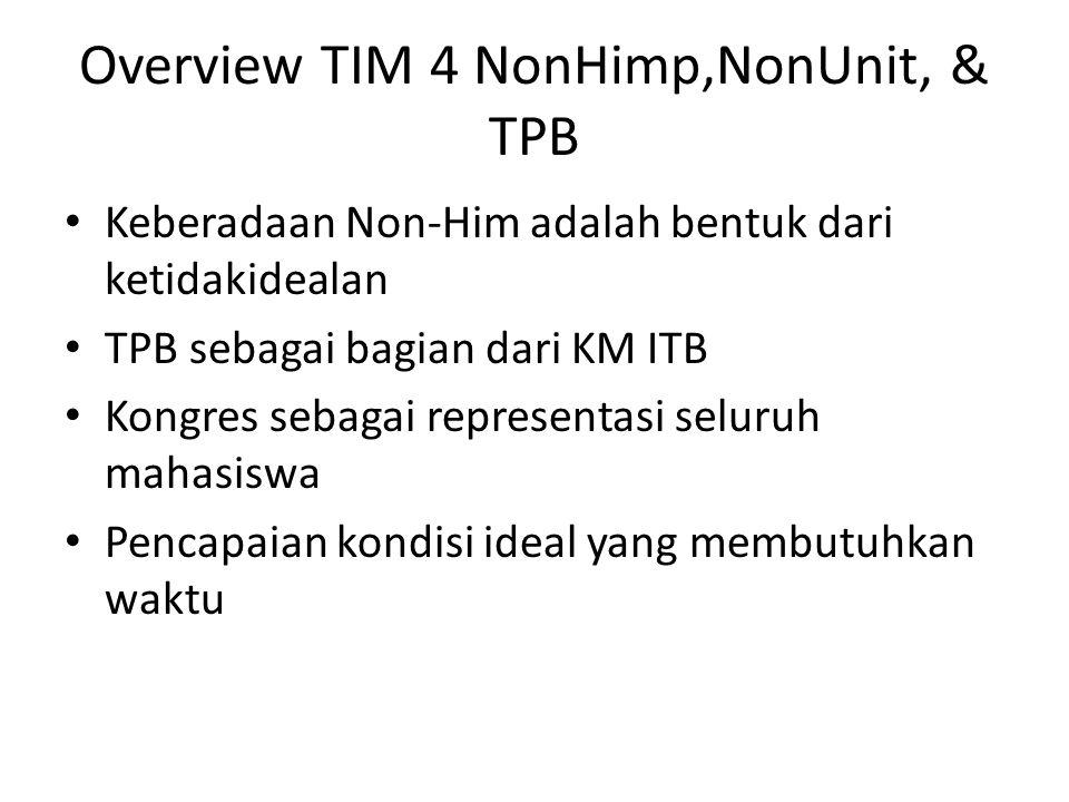 Keberadaan Non-Him adalah bentuk dari ketidakidealan TPB sebagai bagian dari KM ITB Kongres sebagai representasi seluruh mahasiswa Pencapaian kondisi ideal yang membutuhkan waktu Overview TIM 4 NonHimp,NonUnit, & TPB
