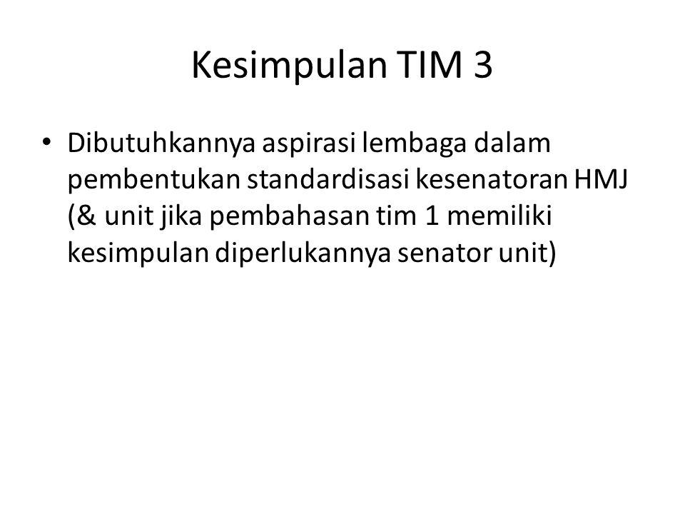 Dibutuhkannya aspirasi lembaga dalam pembentukan standardisasi kesenatoran HMJ (& unit jika pembahasan tim 1 memiliki kesimpulan diperlukannya senator unit) Kesimpulan TIM 3