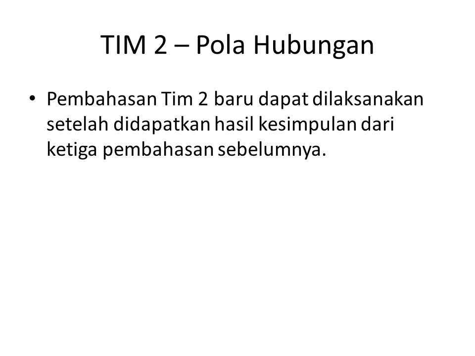 Pembahasan Tim 2 baru dapat dilaksanakan setelah didapatkan hasil kesimpulan dari ketiga pembahasan sebelumnya. TIM 2 – Pola Hubungan