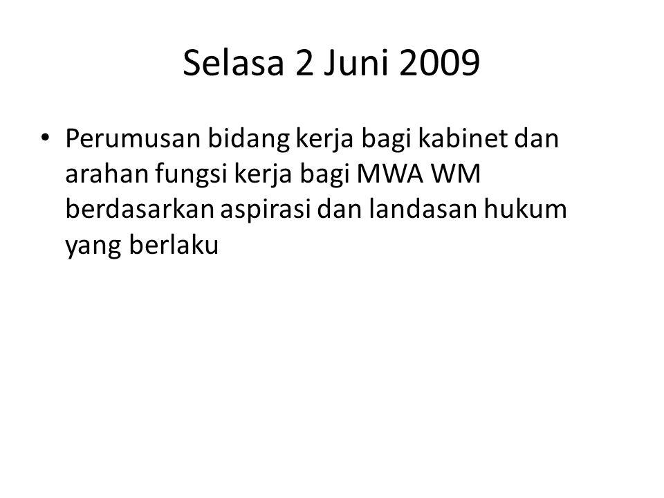 Selasa 2 Juni 2009 Perumusan bidang kerja bagi kabinet dan arahan fungsi kerja bagi MWA WM berdasarkan aspirasi dan landasan hukum yang berlaku