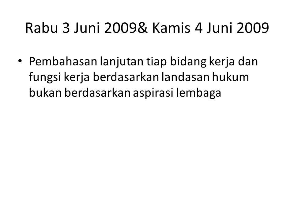 Rabu 3 Juni 2009& Kamis 4 Juni 2009 Pembahasan lanjutan tiap bidang kerja dan fungsi kerja berdasarkan landasan hukum bukan berdasarkan aspirasi lembaga