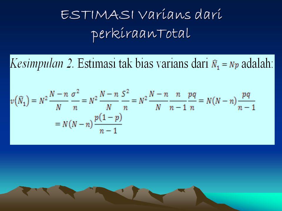 ESTIMASI Varians dari perkiraanTotal